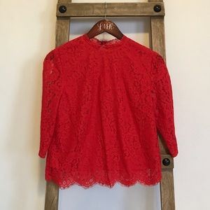 Red quarter sleeve lace blouse